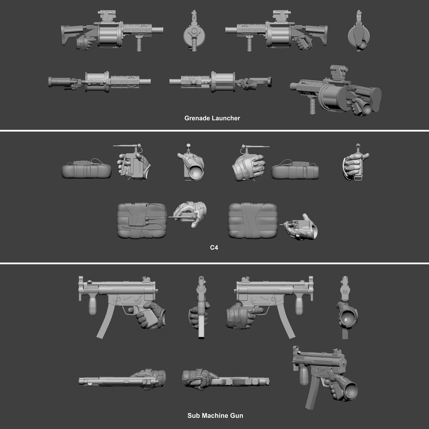 One:12 Collective Punisher 3D Weapons Model