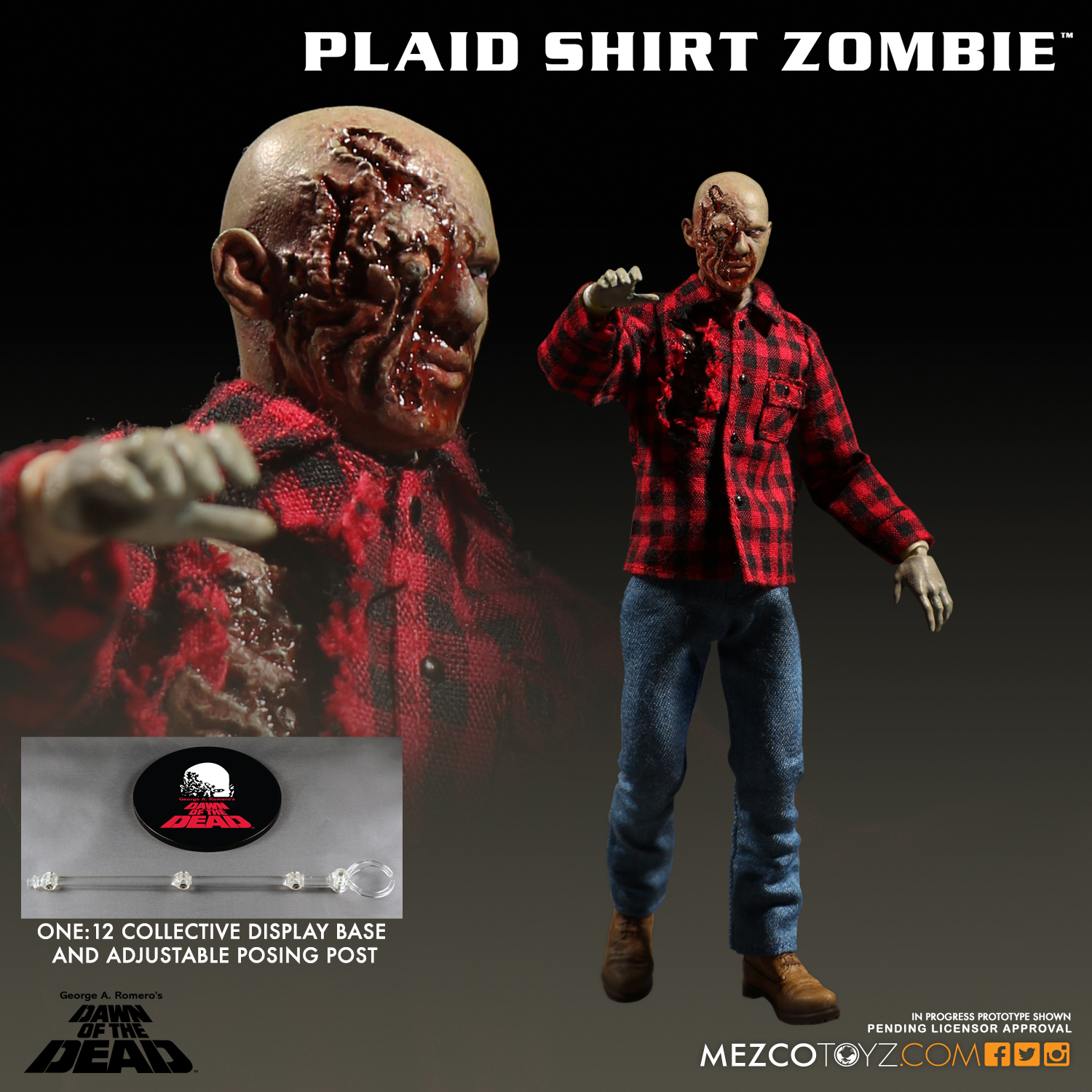 Mezco 2017 One:12 Dawn of Dead Plaid