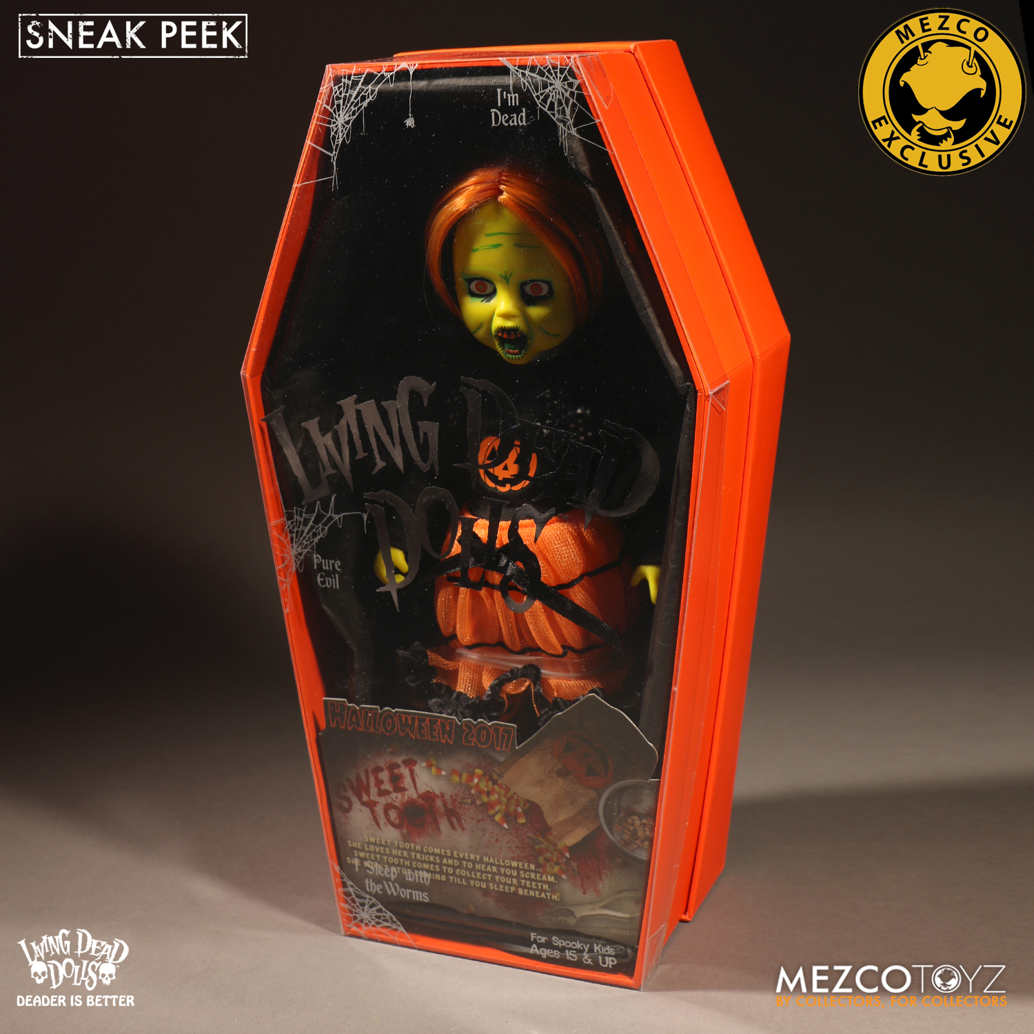 White Variant Living Dead Doll Halloween Black Sweet Tooth By Mezco IN STOCK